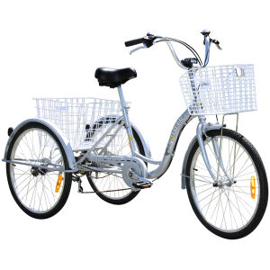 Adult Trike Bike 24 inch Silver Tricycle 3 wheels