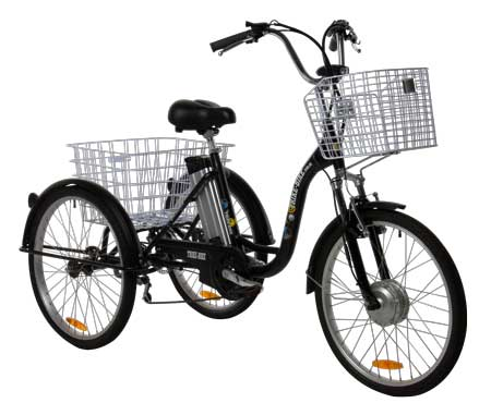 24″ Electric Trike Bike Satin Black