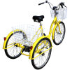 Adult Trike Bike 24 inch Yellow Tricycle 3 wheels
