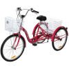 Adult Trike Bike 24 inch Red Tricycle 3 wheels