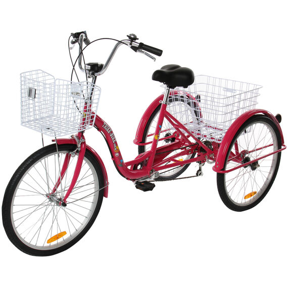 Adult Trike Bike 24 inch Red Tricycle 3 wheels