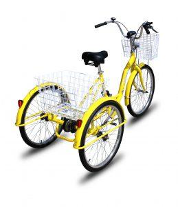 Adult Trike Bike 24 inch Yellow Tricycle 3 wheels
