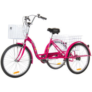 Adult Trike Bike 24 inch Pink Tricycle 3 wheels